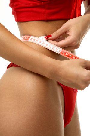 fit girl in red underwear measuring waist Stock Photo - 501943