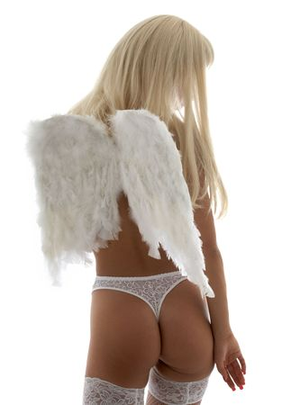 blond girl with angel wings