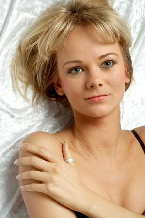 lovely blond laying in bed Stock Photo - 509264
