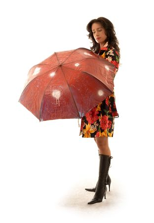 lovely girl in colorful coat with umbrella Stock Photo - 509252