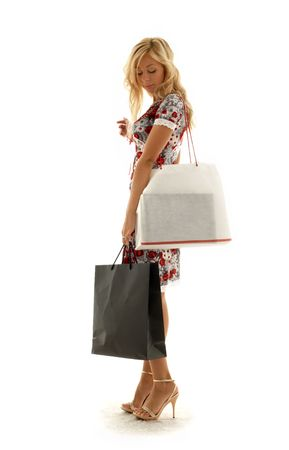 lovely beauty with shopping bags photo