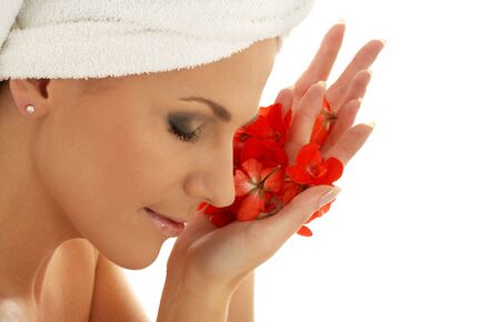 lovely woman with red flower petals Stock Photo - 521773