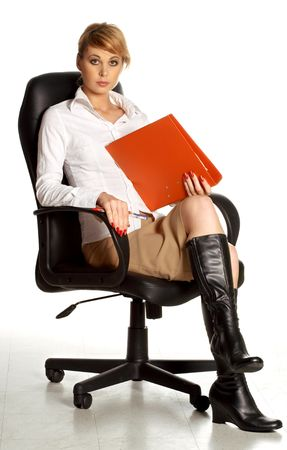 work boots: lovely businesswoman in office chair