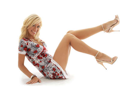 classical pin-up image of lovely blond Stock Photo - 540116