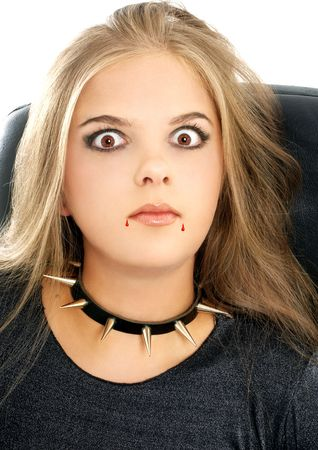 girl in halloween vampire makeup photo