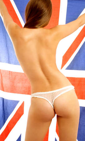 fit lady in white lace panties holding british flag