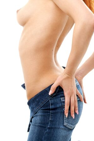 fit redhead in blue jeans Stock Photo - 547056