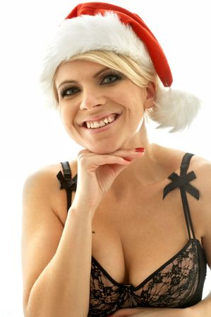 lovely blond in black lingerie and christmas hat photo