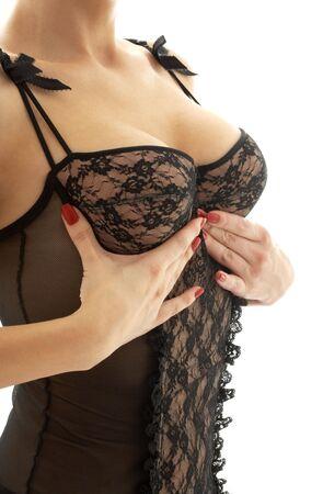 Dame in Schwarz Dessous Brust dr�ngt sich