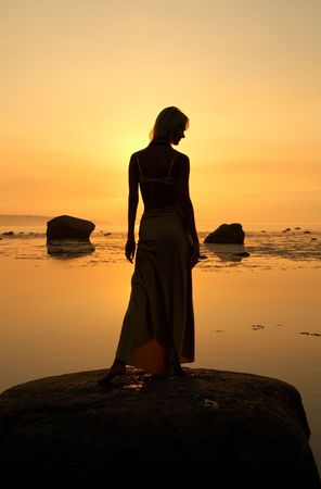 silhouette image of beautiful lady at the seashore photo