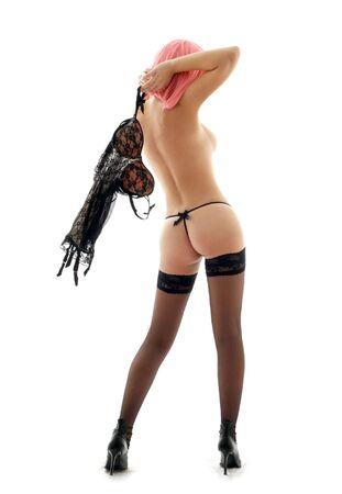 topless: classique pin-up image de la femme avec les cheveux roses  Banque d'images