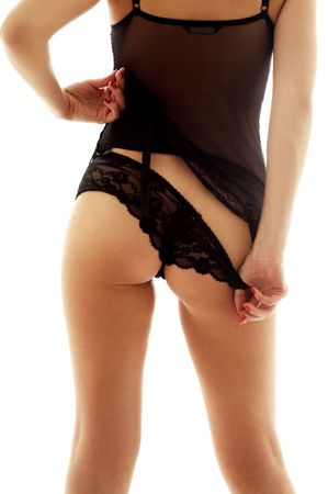 Back and legs of fit lady in black lingerie Stock Photo - 566311