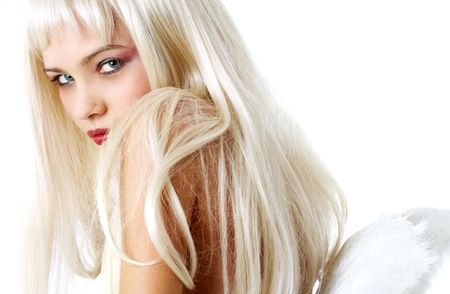 portrait of lovely blond with angel wings photo