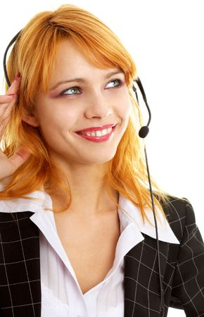 smiling customer service redhead lady using headset photo