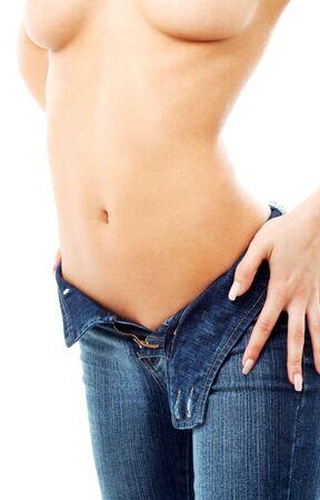 klassische blaue Jeans Bild passen Dame