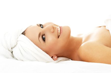picture of happy lady relaxing in massage salon Stock Photo - 583290