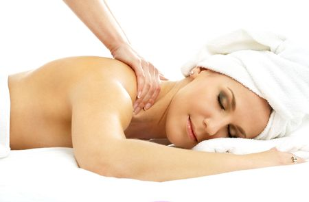 picture of lovely lady relaxing in massage salon Stock Photo - 583288