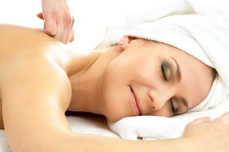 picture of lovely lady relaxing in massage salon Stock Photo - 586884