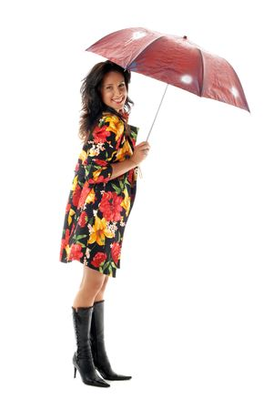 lovely girl in colorful coat with umbrella photo