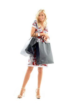 reizendes blondes mit Einkaufenbeutel-�berschu�wei�