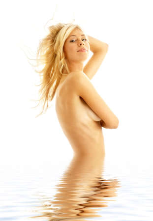 tanned blond in water over white background photo