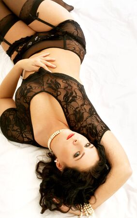image of lovely brunette in black lingerie Stock Photo - 610120