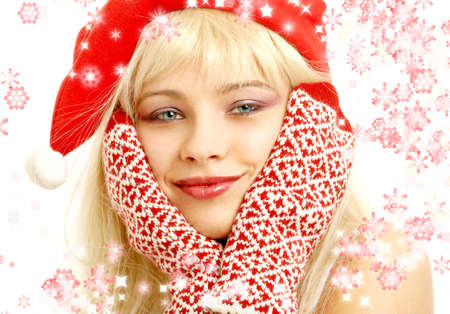 foxy girls: pretty girl in christmas hat with rendered snowflakes