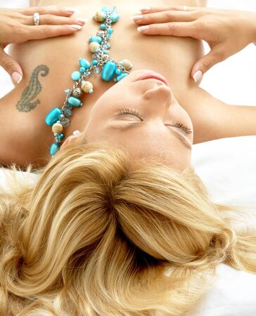 portrait of dreaming blond laying in bed Stock Photo - 623796