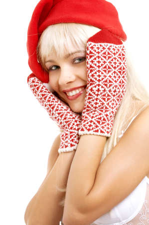 pretty girl in santa helper hat over white photo