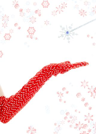 casting a spell with magic wand surrounded by rendered snowflakes photo