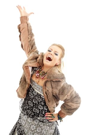 image of singing lady in fur jacket over white Stock Photo - 636880