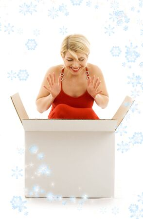 happy girl with blank box surrounded by rendered snowflakes photo