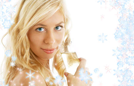 pretty blond with glass of champagne surrounded by rendered snowflakes Stock Photo - 658467