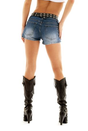long legs in cowboy boots and denim shorts over white Stock Photo - 668468