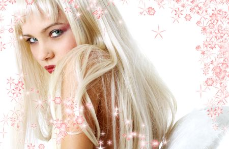 portrait of lovely blond with angel wings surrounded by rendered snowflakes Stock Photo - 666598