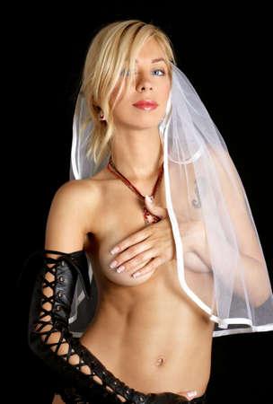 cyberpunk style bride portrait over black background