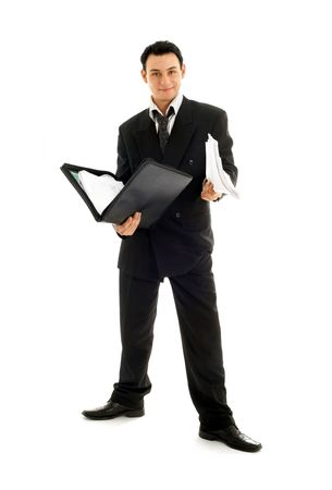 friendly businessman with folder over white background Stock Photo - 680351