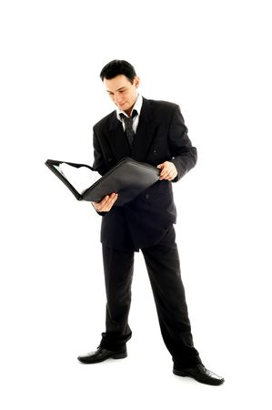 picture of businessman with folder over white background Stock Photo - 680350