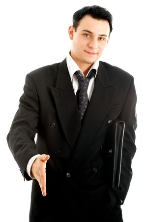 picture of businessman ready to shake hands over white Stock Photo - 680349