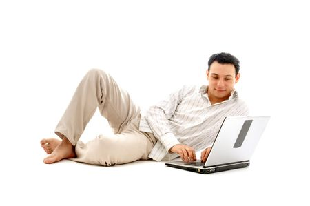 relaxed man with laptop computer over white Stock Photo - 680348