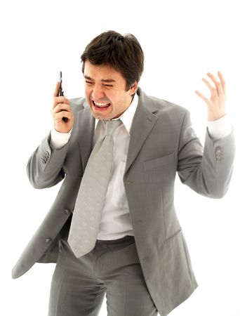 annoyance: angry business man with cellular phone over white