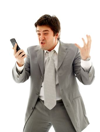 angry businessman with cellular phone over white photo
