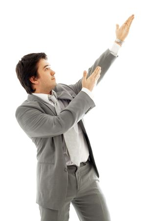 energetic businessman showing imaginary product over white Stock Photo - 684727