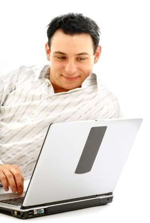 portrait of relaxed man with laptop computer over white photo