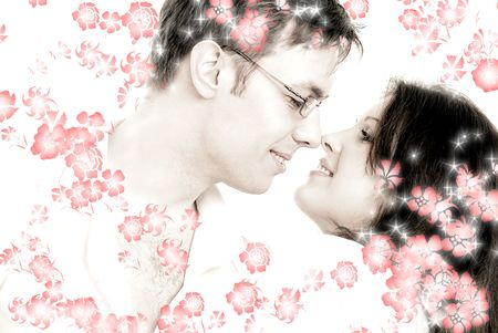 picture of dancing couple surrounded by rendered flowers photo