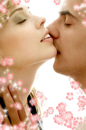 intimate color image of sensual couple surrounded by rendered flowers