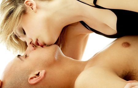 romance sex: intimate color image of sensual couple foreplay