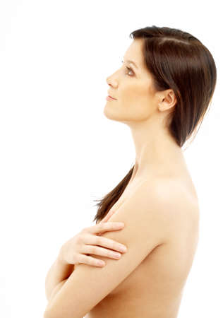 picture of lovely topless brunette looking up Stock Photo - 694846