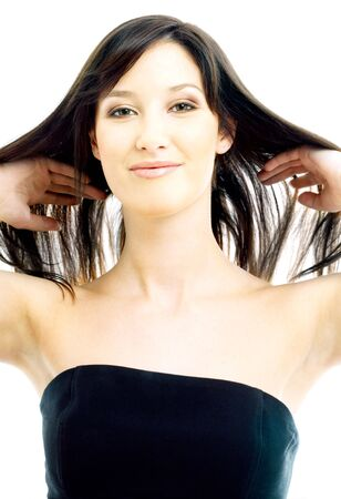 picture of lovely brunette with long hair over white Stock Photo - 694843