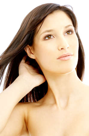 portrait of lovely topless brunette looking up Stock Photo - 697206